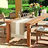 OurWarm Macrame Table Runner Farmhouse Style, Natural Cotton Table Runner Splicing Boho Table Runner with Tassels for Bohemia