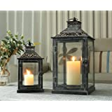 JHY Design Set of 2 Black with Grey Brush Decorative Lanterns, Metal Candle Lanterns for Indoor Outdoor, Events, Paritie and