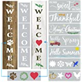 Large Welcome Stencils for Painting on Wood Reusable - Vertical Welcome Sign for Front Door & Outside Porch Decor - Welcome S