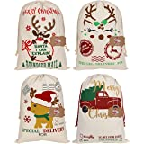 LSJDEER 4 Pack Santa Sacks, Large Christmas Bags with Drawstrings for Wrapping, 19.7 x 27.5 Inch Canvas Stocking (Pattern 1)