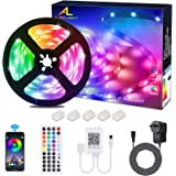 LED Strips Lights, ALED LIGHT Non-Waterproof 5050 RGB 5m Length 150 LED Multicolor Remote Control 44 Buttons and Power Supply