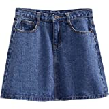 レディースデニムスカートサマープラスサイズデニムスカートレトロハイウエストAライン薄尻スカート,C,S