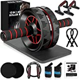 13-in-1 Ab Roller Wheel Kit with Knee Pad, Resistance Bands, Push-Up Bar, Jump Rope, Core Strength & Abdominal Home Gym Abs W