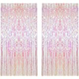 CCINEE 2pcs Metallic Foil Fringe Curtain Transparent Pink Backdrop Decorative Door Window Curtain for Birthday Party Baby Sho
