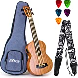 Horse Electric Acoustic Bass Ukulele 30 inch Sapele Professional Aquila EADG with Gig Bag Strap Picks for Beginner and Advanc