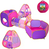 Playz 4pc Children's Playhouse Popup Tents Tunnels and Basketball Hoop for Girls Boys Babies Kids and Toddlers with Zipper St