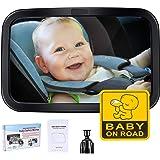 車用ベビーミラー インサイトミラー 大判 ベビーセーフティミラー 車用ルームミラー 360度回転 広い視野 ガラス飛散防止 後部座席 子供の様子を確認する補助ミラー チャイルドシートミラー 曲面鏡 簡単固定 Baby Car Mirror