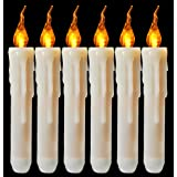 Flameless Yellow Flickering Led Taper Candle Battery Operated Vivid Fake Wax Dipped Amber Flicker Led Small Candles For Chris