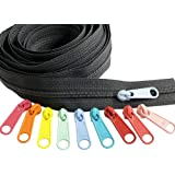 Zipper by The Yard - Ykk #4.5 Nylon Coil Zippers Chain Black 5-Yards of Make Your Own Zipper and 10 Multicolored Pulls in Sof