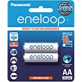 Panasonic AA Ready to use Ni-MH Rechargeable Eneloop Batteries (BK-3MCCE/2BA), 2 Pack