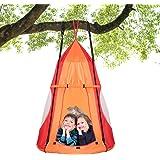 100cm Kids Detachable Hanging Tree Swing Tent, 2 in 1 Design Flying Swing & Nest swing Chair for Having Fun, Indoor Outdoor T
