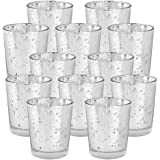 Just Artifacts Mercury Glass Votive Candle Holder 2.75H (12pcs Speckled Silver) -Mercury Glass Votive Tealight Candle Holders