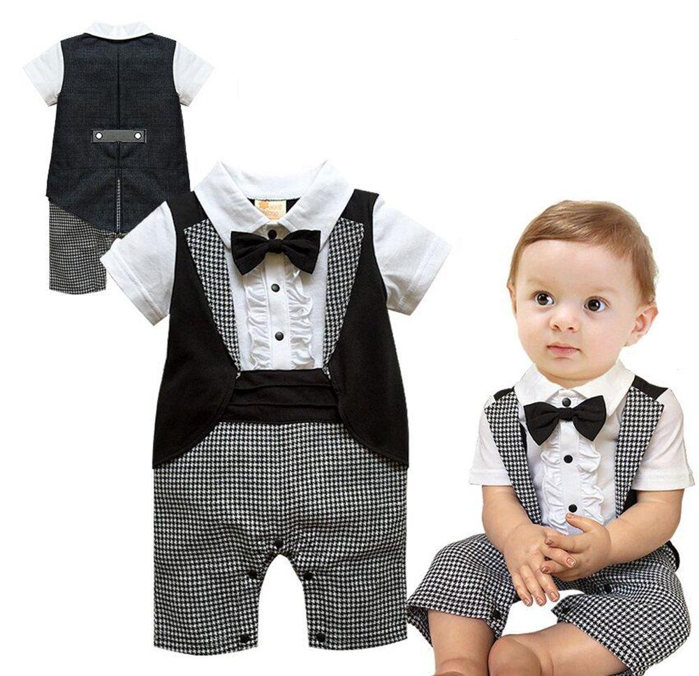 0024960de99ee Ymgot ベビー フォーマル ロンパース 男の子 半袖 子供 タキシード 千鳥柄 カバーオール 新生児 幼児 出産祝い 撮影