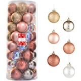 Every Day is Christmas Balls Set of 50 Tree Ball Ornaments for Home Holiday Shatterproof Decoration (Gold & Iridium)