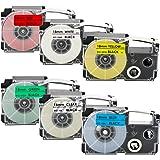 カシオ ネームランド 互換 テープ 18mm 黒文字 CASIO Name Land 6色セット 青/緑/赤/白/透明/黄 XR-18BU XR-18GN XR-18RD XR-18WE XR-18X XR-18YW テープカートリッジ KL-100