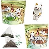 ねこ茶 ティーバッグ セット 誕生日 プレゼント プチギフト (深蒸し茶・ほうじ茶) お茶 釣り 可愛い 猫のフィギュア(1個)