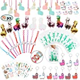 Llama Party Favors Supplies - Llama Bracelet Ring Necklace Keychains Hair Clips Puffy Sticker Gift Bag Alpaca Toys Kids Birth