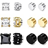 Jstyle 3 Pairs Stainless Steel Mens Womens Hoop Earrings Clip On CZ Non-Piercing
