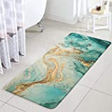 Uphome Bathroom Rugs Turquoise Marble Faux Wool Bath Mat Non-Slip Door Carpet Soft Luxury Microfiber Machine-Washable Floor R
