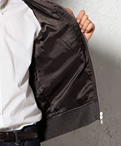Polyester Wool Serge Rib Blouson 3225-186-1865: Grey