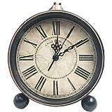 5.5 Classic Retro ClockJUSTUP European Style Vintage Silent Desk Alarm Clock Non Ticking Quartz Movement Battery Operated HD