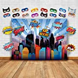 Wonder Woman and Other Superheroes Cityscape Photography Backdrop, Studio Props & Mask. Great as Super Hero City Photo Booth