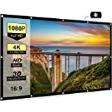 Portable Projector Screen 100 inch, 16:9 Foldable Anti-Crease HD 3D Indoor and Outdoor Projector Movies Screen, Support Doubl