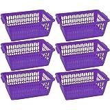 YBM HOME Plastic Perforated Storage Basket Bin Office Drawer, Shelf Desktop Countertop Tray Organizer (6, Purple)