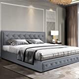 King Bed Frame, Artiss Fabric Upholstery Bed Base with Gas Lift Storage, Grey