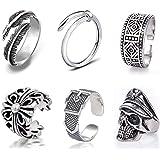 6個 指輪 メンズ リング オープンリング パンク 指輪 透かし彫り アンティーク風 調節可能 フリーサイズ ファッション アクセサリー メンズ 小物 プレゼント ギフト