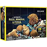 Advent Calendar 2021 - Geographic Rock Mineral & Fossil Dig Kit Christmas 24 Days Countdown Calendar with 24 Pcs Gemstones, H