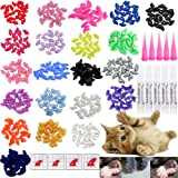 VICTHY 100 PCS Soft Pet Cat Nail Caps Cats Paws Grooming Nail Claws Caps Covers of 5 Kinds 5Pcs Adhesive Glue Medium Size