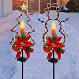 MAGGIFT 32 Inches Solar Christmas Decorations Outdoor LED Solar Powered Candle Xmas Pathway Lights, Metal Snowman & Tree Gard