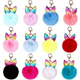 Cieovo 12 Pieces Cute Pom Pom Keychain Cute Faux Fur Key Ring for Women Girls Bag Accessories