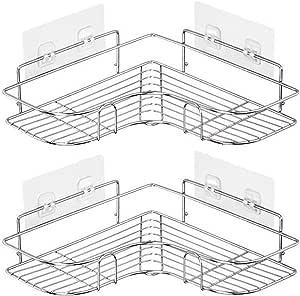 浴室ラック お風呂 ラック ステンレス 風呂 棚 バスコーナーラック シャンプーラック 2段 強力テープ固定 15kg荷重 お風呂の壁に 水切り サビ防止 調味料収納 浴室収納 台所収納 バスルーム整理