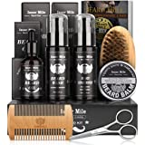 Upgraded Beard Shampoo Wash & Conditioner, Oil, Balm Softener Care Set Grooming kit, Perfect Gifts for Men Him Boyfriend Dad,