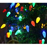 Windpnn Colored Led Christmas Lights, Battery Operated Clear Green Wire Xmas Tree Lights 50 LED C3 Bulbs Multicolored Strawbe