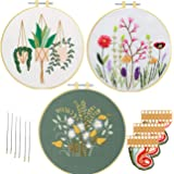 Embroidery Kits for Starters Beginners Nuberlic 3 Pack Cross Stitch Kit with Pattern for Adults Kids Craft Stamped Embroidery