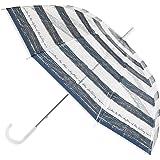 SPICE OF LIFE(スパイス) ビニール傘 ハッピークリアアンブレラ ボーダーネイビー グラスファイバー ネイルガード付き 直径100cm HHLG5020NY