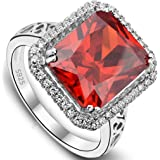 EVER FAITH Women's 925 Sterling Silver 5 Carats Radiant Cut CZ Party Statement Ring Orange-Red