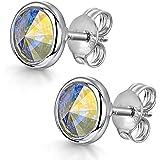 Amberta Women's 925 Sterling Silver Lumini Crystal Bezel Stud Earrings