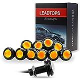LEADTOPS 10Pcs 18mm 12V Eagle Eye LED Car Fog DRL Daytime Running Light Backup Reverse Tail (Yellow, Black Case)
