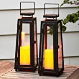 Decorative Solar Candle Lanterns - 11 Inch, Black Metal with Glass, Waterproof Flameless Pillar Candles, Dusk to Dawn Timer,