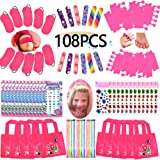 Spa Party Favors for Girls Multiple Spa Party Supplies- (12 Tote Bags, 12 MINI Emery Boards,12 Colored Hair Clip Braids, 24 T