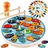CORPER TOYS 木製 釣りおもちゃ 魚 猫 釣り遊び 釣りゲーム 30点豪華セット マグネット式 磁石付き パズル アルファベット 男の子 女の子 フィッシング カラフル 六歳以上