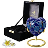Butterfly Heart Urn Keepsake - Small Heart Cremation Urn with Stand & Box - Mini Blue Urn with Butterflies - Honor Your Loved