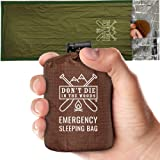 Emergency Sleeping Bag with Hood | Ultralight, Waterproof, Thermal Mylar Sleeping Bag Liner | Survival Bivy Space Blanket Biv