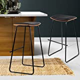 Artiss 2 Pcs Bar Stools 76cm Height Leather Foam Counter Stools, Black Metal Bar Chairs for Home Kitchen Dining Room Office C