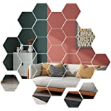 Mirror Wall Stickers, 36pcs Removable Acrylic Wall Decals, Hexagonal Adhesive Mirror Tiles Wall Decor for Home Living Room Be