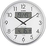 CASIO(カシオ) 掛け時計 電波 シルバー 直径35cm アナログ 生活環境 温度 湿度 カレンダー 表示 ITM-650J-8JF